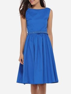 Round Neck Dacron Plain Skater-dress