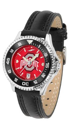 Ohio State Buckeyes Competitor Ladies AnoChrome Watch with Leather Band and Colored Bezel