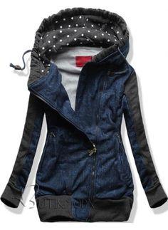 Sweatjacke dunkelblau D269 Jeans Motiv