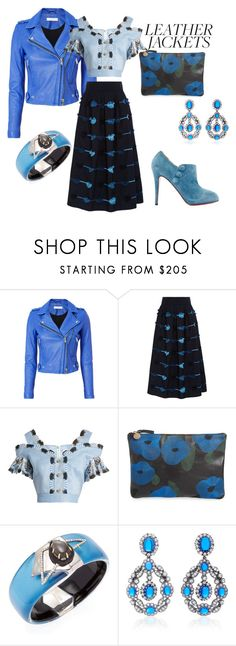 """""""Biker Babe Chic"""" by mkdetail ❤ liked on Polyvore featuring IRO, Lela Rose, Peter Pilotto, Clare V., Alexis Bittar, Anabela Chan and Christian Louboutin"""