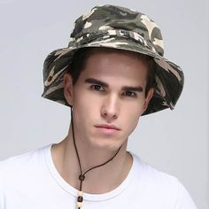 Spring beige camo sun bucket hat with string for men summer outdoor fishing hats