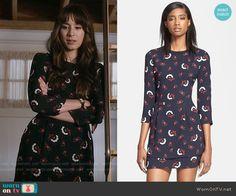 Spencer's black printed long sleeve dress on Pretty Little Liars.  Outfit Details: https://wornontv.net/55808/ #PLL