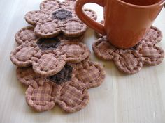 Quilted Coasters Sunflowers Primitive Rustic Country Decor Farmhouse Decor.
