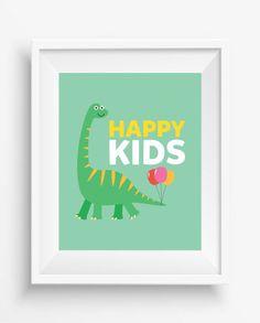 Happy Kids,Happy Kids Print,Dinosaur Wall Decor, Dinosaur Art ,Nursery Decor,digital Prints, Playroom Decor,Fun Nursery Art,Baby…