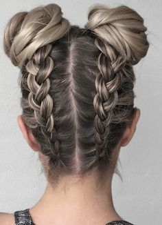 double upside down braid and buns 2017 2018