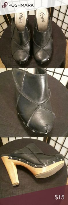 Candie's Black Mule Clogs Shoes Excellent Condition, Brown Wood Heel, Silver Studs, Thanks for sharing my closet, I will show Posh love by doing the same. Candie's Shoes Mules & Clogs