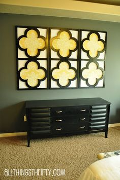 DIY Quatrefoil design wall art- different colors, but this may be the right piece we want!!