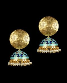 Minakam jhumkas enamel work indian jewellery - loved & pinned by www.omved.com