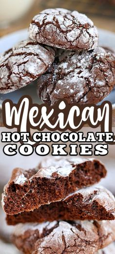 Chocolate Christmas Cookies, Mexican Hot Chocolate, Chocolate Crinkle Cookies, Chocolate Bomb, Chocolate Recipes, Thanksgiving Chocolate Desserts, Cocoa Cookies, Chocolate Crinkles, Mini Desserts