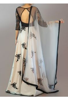 Light Grey and Black Embroidered Anarkali