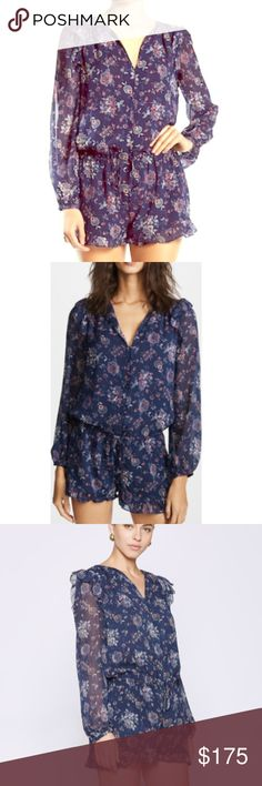 0daef9bc90c Joie – Silk Cherita Floral Print Split Neck Romper Bright floral prints add  a fresh feel to this ruffle sleeve silk romper with a flattering fitted  waist.