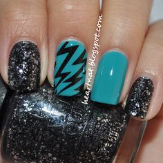 OPI Fly and stamped using BM 305 in Konad Black. The glitter is OPI Metallic 4 Life.