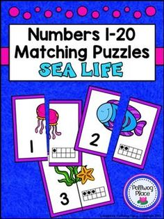 Number Matching Puzzles with Ten Frames - Sea Life {Numbers 1-20} ($)