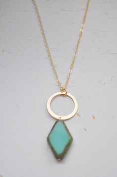 Turquoise Diamond Pendant Necklace  gold filled by adenandclaire