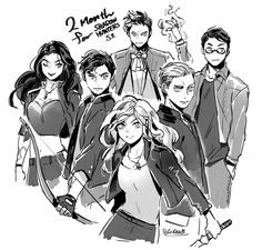 Drawn by bingo337  ...   the mortal instruments, isabelle lightwood, clarissa 'clary' fray, jace herondale, alexander 'alec' lightwood, magnus bane, shadowhunters, simon lewis