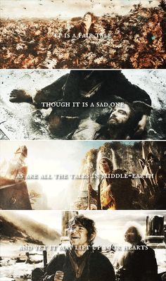 it is a fair tale though it is a sad one as are all the tales in middle-earth and yet it may lift up your hearts. #thehobbit
