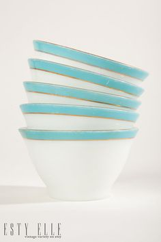 Turquoise PYREX Bowls Set of 5