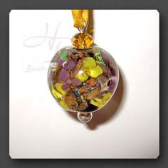 Flower Bead Lampwork Pendant Fokal Bead Beads Unique by WSCDesign, $45.00