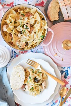 The Best Creamy One Pot Chicken Marsala Pasta - add this to your list of go-to quick dinner recipes. It takes under 30 minutes to make! Also, come enter to win this Le Creuset Sakura Dutch Oven giveaway! | homemade chicken marsala, one pot dinner recipes, how to make chicken marsala, homemade chicken marsala recipe, easy chicken marsala || The Butter Half via @thebutterhalf #chickenmarsala #onepotdinner #onepotrecipe