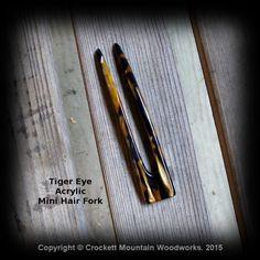 Summer Celebration Mini Acrylic Hair Fork Tiger Eye Acrylic 4 inch prong 4 1/2 inch total by CrockettMountainWood on Etsy