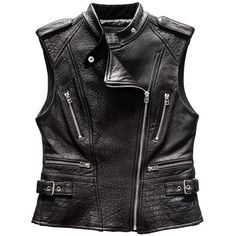 Pre-owned Victoria's Secret Leather Moto Vest (555 MYR) ❤ liked on Polyvore featuring outerwear, vests, black, vest waistcoat, black leather vest, black vest, genuine leather vest and leather waistcoat