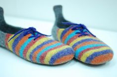 These fun slippers has been made as a gift for my dear friend. I thought it would be fun to add these to my shop.  Get some colors into your life! Great gift for your dear person or yourself- a pair of cozy hand-felted slippers, made with love and accurate. Slippers are nice, practical and amazingly comfortable- you will not feel them when walking! After few wears they will take a shape of your feet. I highly recommend to wear slippers on bare feet, cause woolen items have healing…