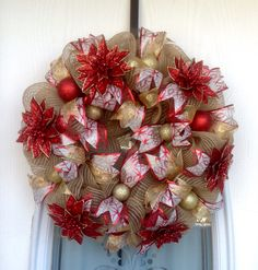 "22"" Burlap Deco Mesh Wreath with red and Gold Glitter Poinsettias"