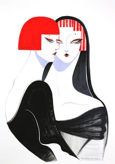 """velwyn: """"An original framed fashion illustration by Velwyn depicting a key look from the Yohji Yamamoto collection. Commissioned for SHOWstudio's A Beautiful Darkness project with Veuve. Art Deco Illustration, Fashion Illustration Face, Illustration Sketches, Illustrations And Posters, Graphic Design Illustration, Fashion Illustrations, Kunst Inspo, Art Inspo, Kunst Poster"""
