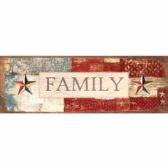 Family Wood Grain Americana Folk Primitive Inspirational Sign Red & Blue Canvas Art by Pied Piper Creative