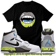 sports shoes 4fe75 3b48e Custom T Shirt Matching AIR Jordan Legacy 312 White Volt JDL 1-2-