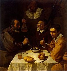 The Lunch is a very early painting by Spanish artist Diego Velázquez, finished c. 1617. The work, an oil painting on canvas, is in the Hermitage Museum of St. Petersburg. The painting portrays a table covered by a creased cloth, on which lie two pomegranates and a piece of bread. People attending the lunch include an aged man on the left and a young man on the right, while, in the background, an apparently carefree boy pours wine into a jug.