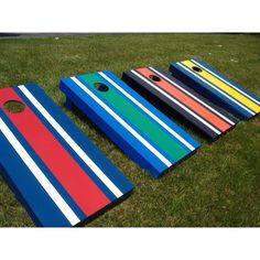 Striped Tournament Cornhole Set Black Base Red / Yellow Bags Orange Stripe - 105-BLACK-ORANGE RED/YELLOW