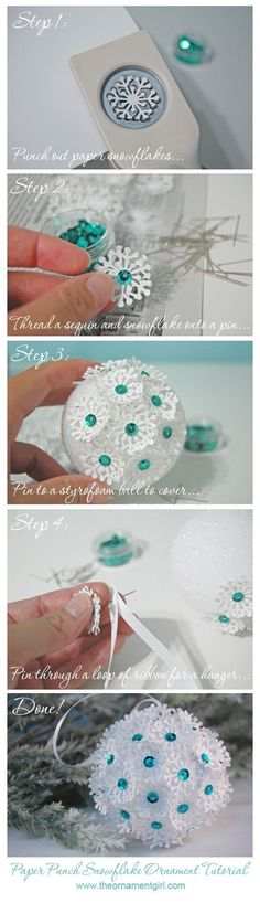 easy paper punch snowflake Christmas ornament tutorial: