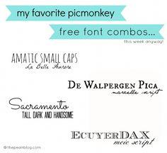 favorite font combos using picmonkey