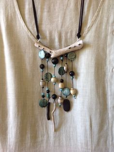 Driftwood and black onyx necklace