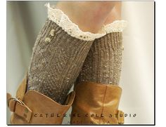 The Nordic Lace Boot Sock -Something really special for your tall boots -Pretty tweed cable knit long knee socks w/ 2 buttons, cotton lace. $29.50, via Etsy.