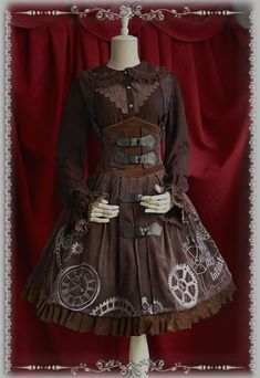 Vintage Style Steampunk Dress - Two Colors: Brown or Blue