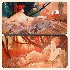 Dusk and Dawn (1899) by Alphonse Mucha
