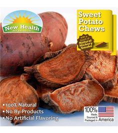 New Health Pet Products Sweet Potato Chews 4.5 oz are formulated so your dog gets the best treat. These treats are developed to be naturally low in fat and calories. Sweet potatoes are an excellent source of potassium and carbohydrates. Great natural chew with a touch of natural smoke flavor for healthier teeth and gums! MADE IN USA.