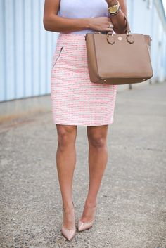 pink tweed skirt, tweed pencil skirt, business casual, white tank, pink skirt, pink pencil skirt, pink pencil tweed skirt, tory burch robinson pebbled square tote, christian louboutin so kate pumps, spring fashion, spring business outfit // grace wainwright from a southern drawl