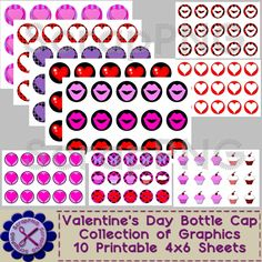 valentine crafts ideas st s day bottle cap collage printable 4x6 sheet 3167