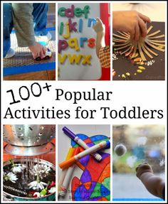 Simple toddler activities to keep busy little hands playing and learning at home. Great list of educational activities for toddlers.