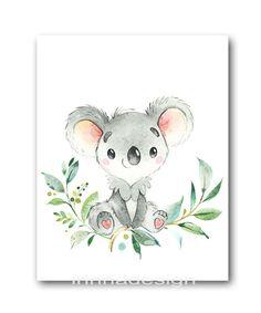 Kids Room Wall Art, Baby Wall Art, Baby Art, Nursery Wall Art, Koala Nursery, Animal Nursery, Girl Nursery, Girl Room, Baby Boy Room Decor