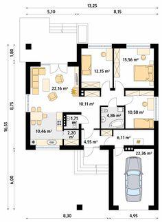 Kiwi 2 projekt domu - Jesteśmy AUTOREM - DOMY w Stylu 20 M2, Bungalow House Design, Master Plan, Kiwi, My House, House Plans, Floor Plans, How To Plan, Home Plans