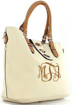 tinytulip.com - Monogrammed Buckle Shoulder Bag, $52.50 (http://www.tinytulip.com/monogrammed-buckle-shoulder-bag)