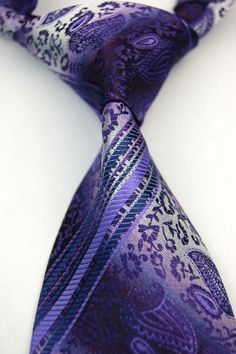 S1145 New Classic Blue Purple Paisley Silk Jacquard Woven Men's Tie Necktie