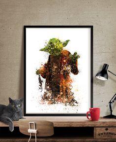 Star Wars Print Yoda Print Yoda Art Poster Abstract Movie