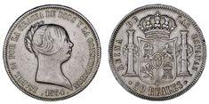 20 SILVER REALES / PLATA. ISABELLA II - ISABEL II. MADRID 1854. VF+/MBC+.
