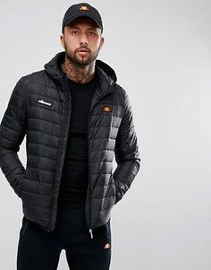 ellesse padded jacket with hood in black Ellesse a42807164bcb