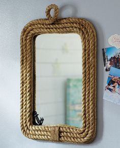Rope Mirror at Pottery Barn Teen. Cowboy Bathroom, Pirate Bathroom, Nautical Bathrooms, Barn Bathroom, Bathroom Storage, Bathroom Ideas, Rope Mirror, Wall Mirror, Diy Mirror